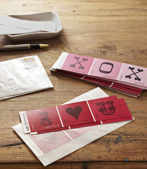 DIY Valentines Day cards using free paint swatches & rubber stamps: Valentine Idea, Valentine Card, Chip Valentine, Paint Swatch, Paintchip, Paint Sample, Valentinesday, Paint Strip
