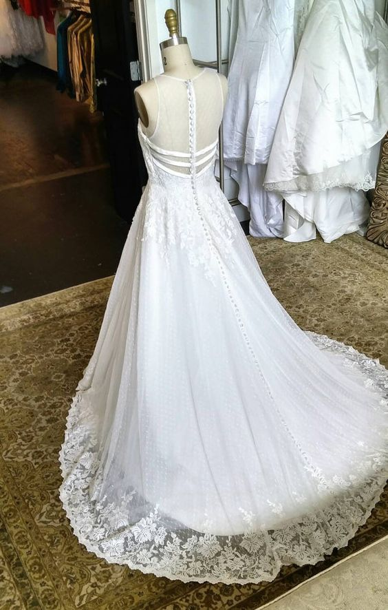 Unique swiss dot vintage wedding dress with lace details for Dotted swiss wedding dress