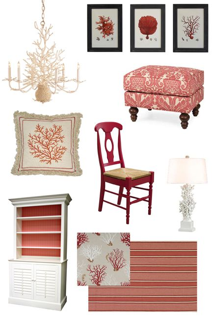 Coastal / Beach House Furniture & Decor Inspiration: Coral-good ideas for red too. @Jordan Mathias I know you don't want shells etc. but a few are very Savannah style =):