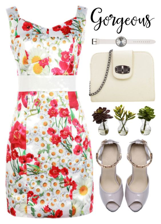 """""""Gorgeous"""" by m-zineta ❤ liked on Polyvore featuring Nearly Natural, Uniform Wares, outfit, floral, dress and whitedomination"""