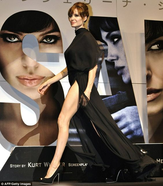 Angelina Jolie in black Versace gown at Japanese premiere for Salt in Tokyo