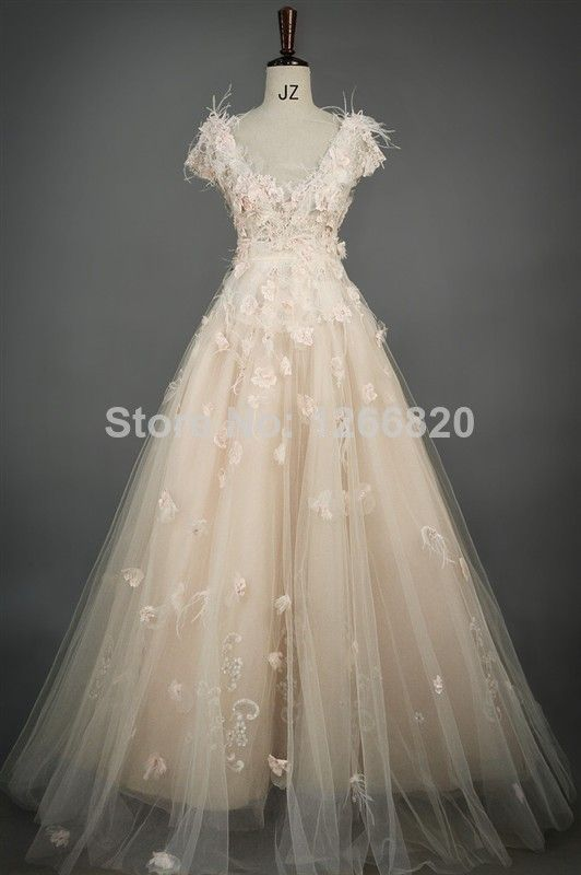 New 2014 Unique a-line tulle feathers appliques flower Wedding Dresses Organza Sweep Train Bridal Gown v-neck vestido de noiva $325.00