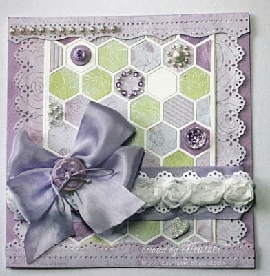 Created by Heather using Simon Says Stamps Exclusive Full Card Hexagon Die.July 2013