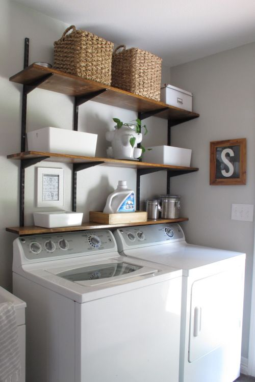 Metal Wall Mount Shelving Brackets Above Laundry Laundry Room