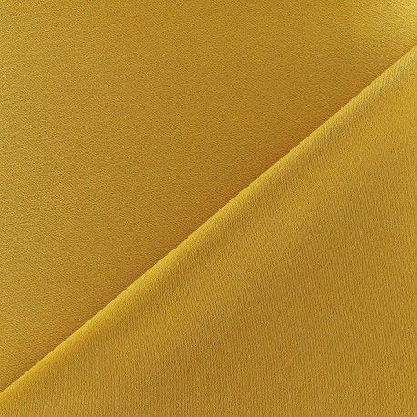 Tissu crèpe envers satin moutarde x 10cm