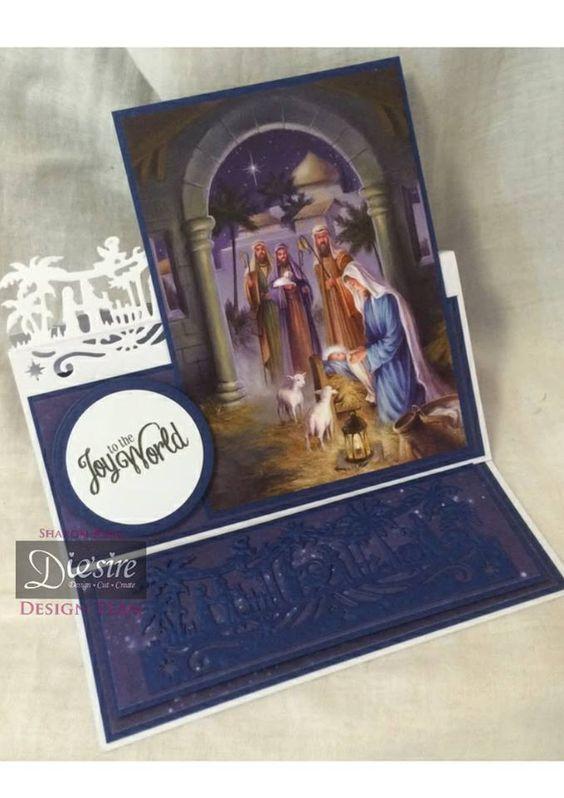Sharon King - Bethlehem Edge'able die - Vintage Christmas Sentiment - 6x6 card base - Blue card - #crafterscompanion #Christmas