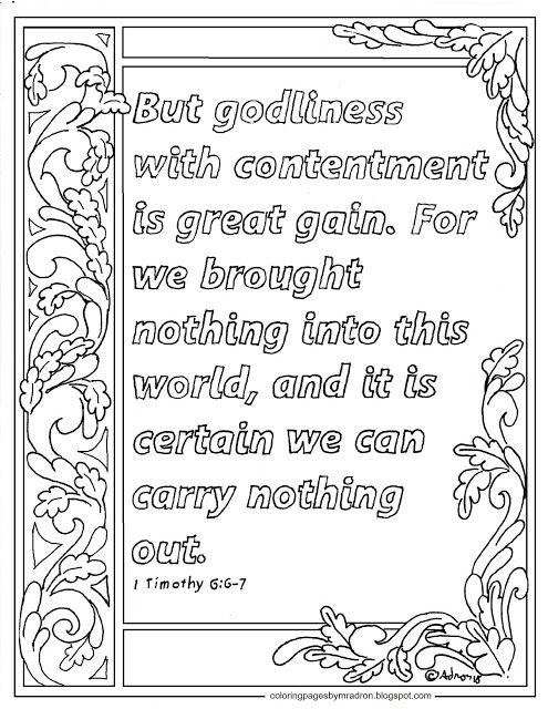 1 Timothy 6 6 7 Printable Coloring Page Godliness With