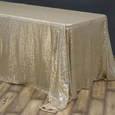 90 X156 Champagne Premium Sequin Rectangle Tablecloth Rectangle