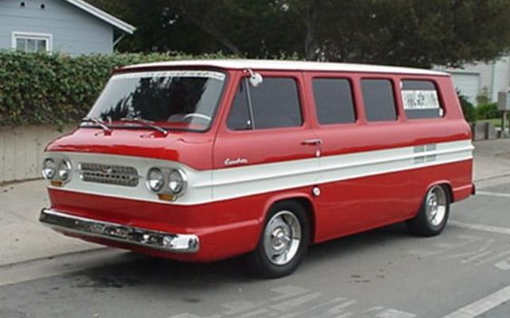 Corvair Greenbriar van. Air cooled, engine in back. I had one of these.