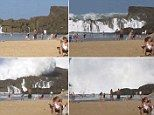 When fellow holidaymakers turned around to stare in awe at the gigantic oncoming wave at a Puerto Rico beach