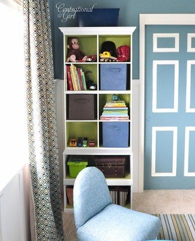 I think I might paint the inside shelves of the bookshelf in Nate's room. Love the contrast.