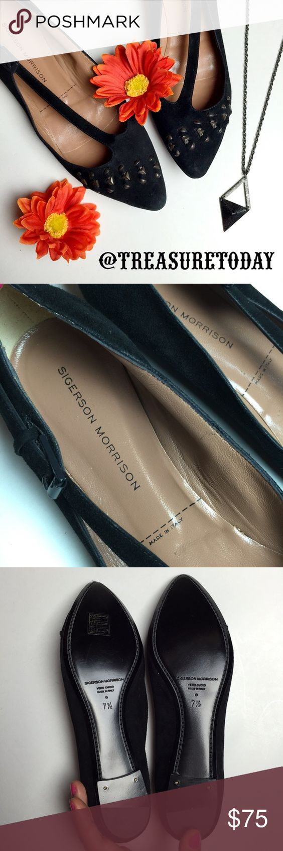 NEW Sigerson Morrison Suede Pointed Flats Super cute design, new , never worn. Studded in front. No box or tags. Feel free to ask any question, I'm here to help! 🎉Offers welcome 🎉 Bundle 2 or more items and get %10 off instantly💕 all pictures are taken by me. Sigerson Morrison Shoes Flats & Loafers