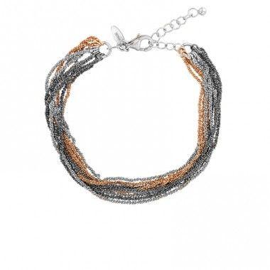 Bracelet Dalia Ligne Filante 3C Noir_Argent_Rose - Dalia Joaillerie - créateur de liens avec votre élégance  #Dalia #DaliaJoaillerie #MyDalia