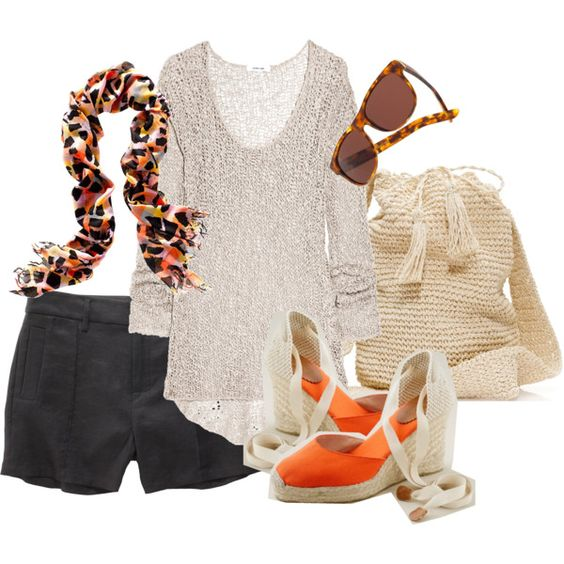 This knit cotton top is adorable. The wedge espadrilles and bag are J. Crew. That scarf screams....fun, fun, fun!