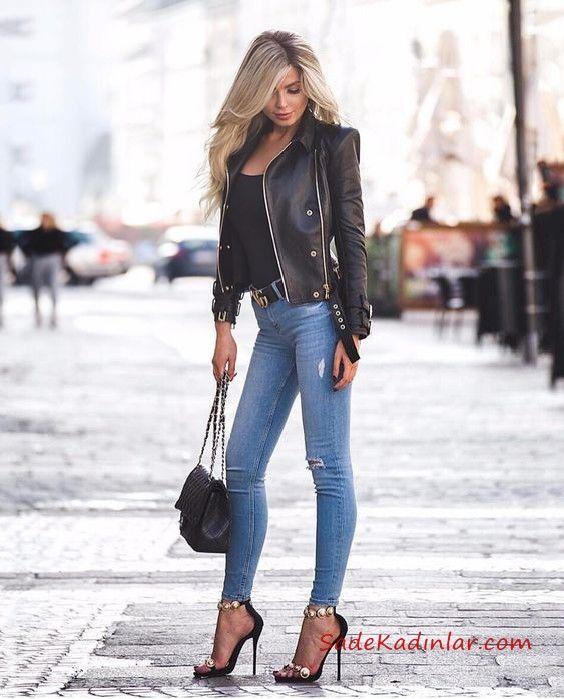 2019 Deri Ceket Kombinleri Mavi Skinny Yuksel Bel Pantolon Siyah Bluz Siyah Deri Ceket Siyah Topuklu Ayakkabi Siyah Deri Siyah Deri Ceketler Moda