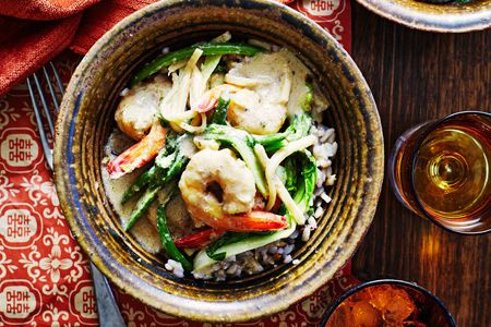 Prawn Green Curry with Wholegrain Rice