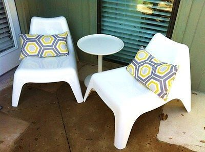 Bargain Ikea Pair 2 Ps Vago White Plastic Stackable Outdoor Indoor Garden Chair Lounge And Chairs