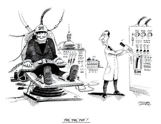 """Karikatur vom 13. Mai 2016: """"Toi, Toi, Toi!"""" Mehr Karikaturen auf: http://www.nachrichten.at/nachrichten/karikatur/ (Bild: Mayerhofer)"""