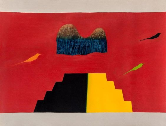 """Untitled (Bird, Tree and Mountain)"" (1982) by Jagdish Swaminathan"