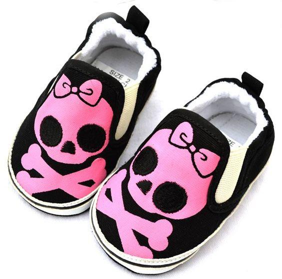 baby girl skull nursery | Pink Black Skull Toddler Baby Girl Shoes Size 2 3 | eBay
