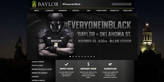 Yes, that's the #Baylor website right now. When we say #EveryoneInBlack, we mean EVERYONE.