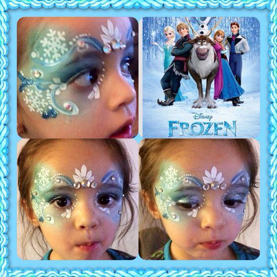 Face paint desighn inspired by Disneys Frozen: