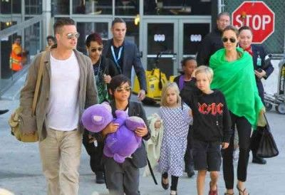 Brad Pitt and Angelina Jolie have returned to the United States, with their family in tow, after the filming of 'Unbroken' ended.    Angelina and Brad celeb