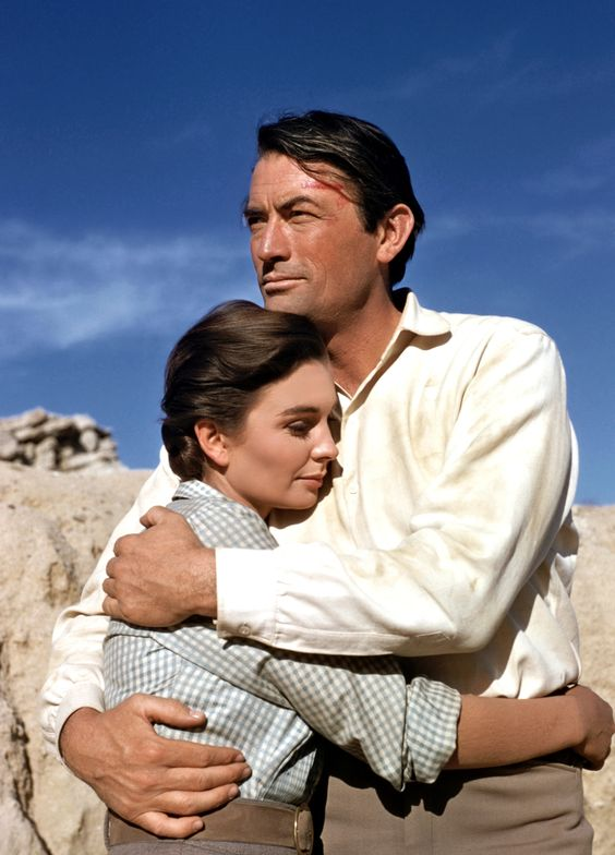 Gregory Peck and Jean Simmons on the set of Big Country (1958). I love this movie!!!