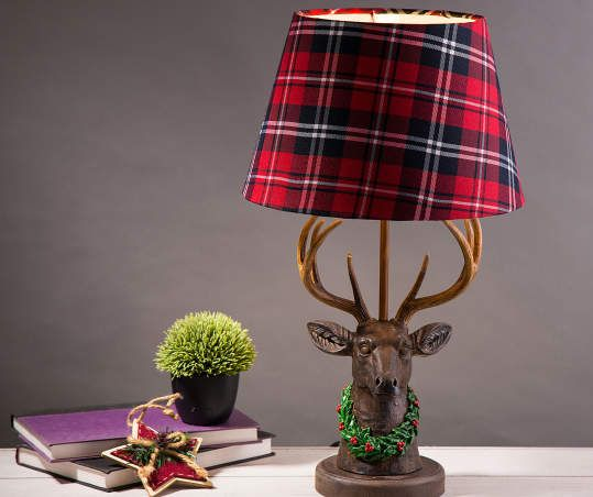 Glitzhome Reindeer Table Lamp With Red Black Plaid Shade Table