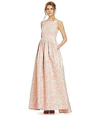 Adrianna Papell Floral Metallic Jacquard Gown Dillards $240 ...