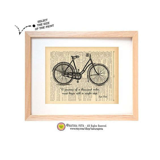 Lao Tzu bicycle quote dictionary print-Bicycle quote art print-bicycle quote on book page- Upcycled Dictionary art - by NATURA PICTA