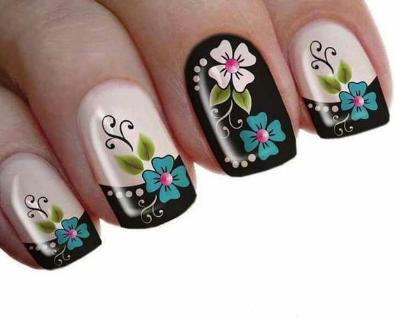 Negro y flores