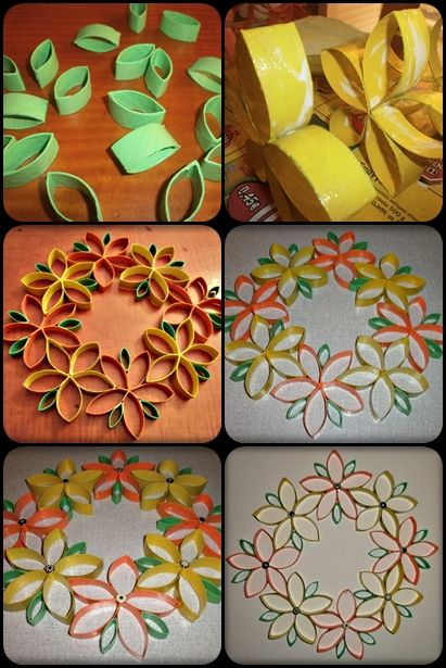 Recycle toilet rolls craft wreath craft idea diy for Recycle toilet paper rolls crafts