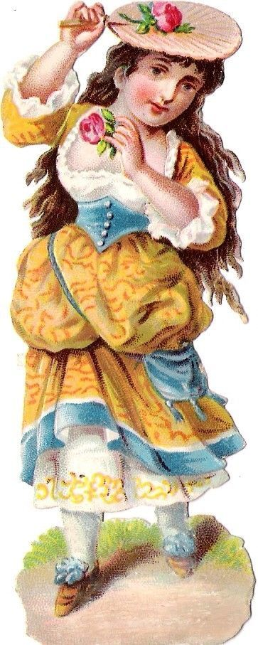 Oblaten Glanzbild scrap die cut chromo Kind 11,6cm  girl lady Mädchen fillette: