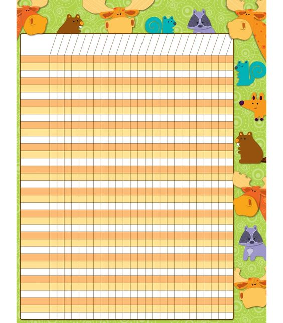 """Students will look forward to tracking progress and reaching goals with this charming Moose & Friends Incentive chartlet! With enough space to fit multiple assignments or goals, use this chart to keep track of completed assignments, reward positive behavior, and motivate students to reach goals. Includes one chart measuring 17"""" x 22"""". Look for coordinating products in the Moose & Friends design to create an inviting classroom theme!"""