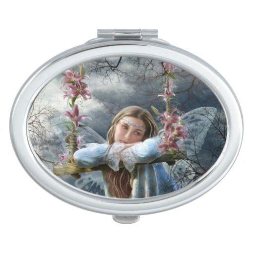 Oval Compact Mirror Sad Fairy
