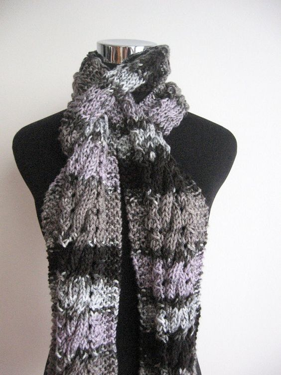 Multicolor Grey,Lilac and Black Cable and Lace Knit Scarf Vegan Knits Grey Knitted Scarf  Mens Scarf Womens Scarf
