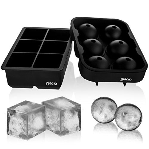 Cocktails Set of 2 Whiskey Sphere Ice Moulds 8 Large Square Cube and 6 Ice Ball Maker Easy Release Flexible BPA Free Ice Cube Mould for Baby Food Ice Cube Trays Silicone with Lid