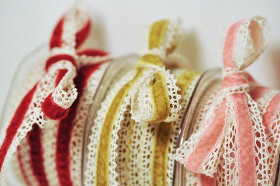 Velvet and Crochet Ribbon