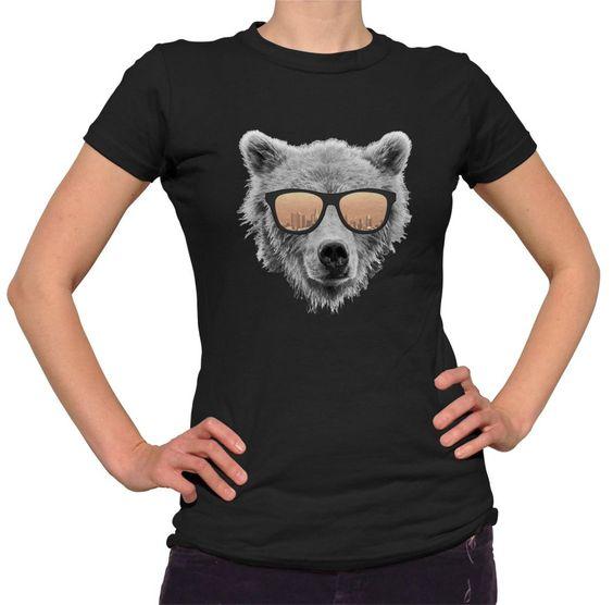 Women's Los Angeles Bear T-Shirt - Juniors Fit Bear In Sunglasses