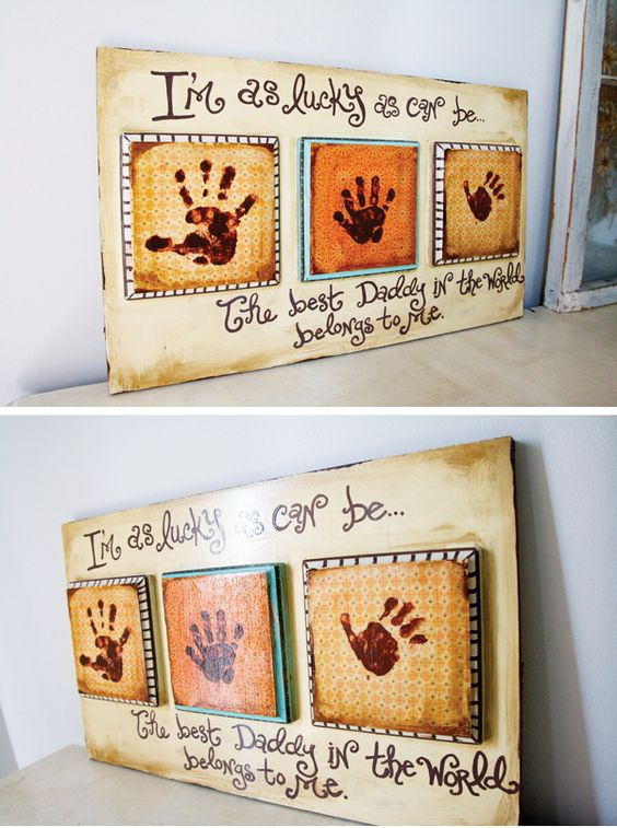 This is too stinkin' cute!  Could also work for grandparents!: Handprint, Grandparent Gift, Daddy Gift, Fathersday, Fathers Mother, Christmas Idea
