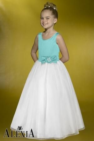 Satin A-line,Bow,Tank Style F006 Flower Girl by Alexia Designs