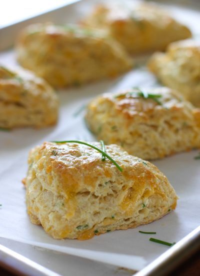 Cheddar and Chive Savory Scones!  Such a nice change from biscuits or rolls.