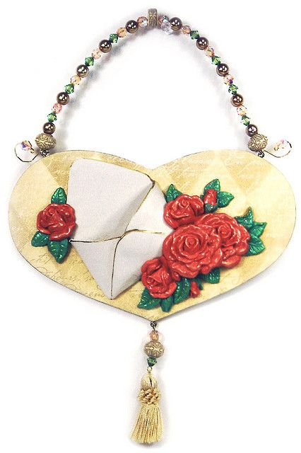Heart wall hanging with Polymer clay envelope pocket | Flickr - Photo Sharing!
