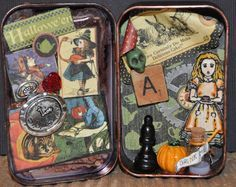Alice in a Tin... Graphic 45 Wonderland Tags from Altered Pages and a ton of great treasures fill this altered tin!!! by Lyneen Jesse