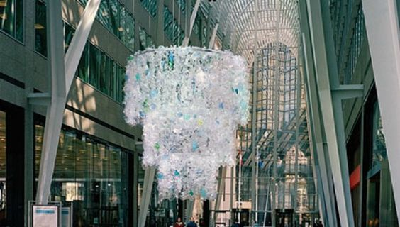 """Katharine Harvey's """"Chandelier"""" piece in Toronto, Canada. A similar work was unveiled in New York City on April 15.:"""