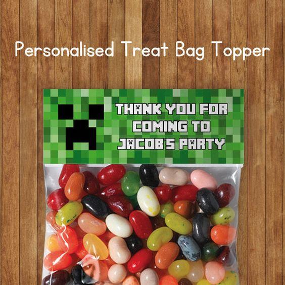 DIY Minecraft Cake Birthday Treat Candy Bag Topper By