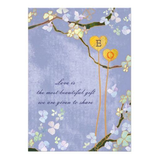 Modern Monogram Blue Floral Wedding (Creamy Back) Announcement