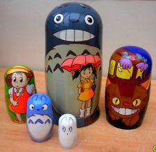 """View Item: Russian Nesting Dolls """"TOTORO"""" Hand-painted in Russia."""