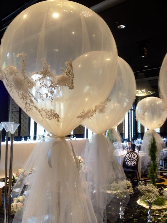 Diamond Clear 3ft Balloons Wrapped In Custom Tulle